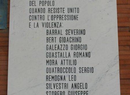 Lapide ricordo fucilati 26 maggio 1944 Via XXV Aprile (Coazze)