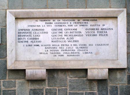 Lapide ricordo dei caduti coazzesi della Seconda Guerra Mondiale