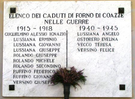 Borgata Ferria (Coazze – Forno) Lapide ricordo Caduti due guerre mondiali
