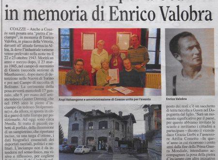 Pietra d'inciampo per  Enrico Valobra a Coazze