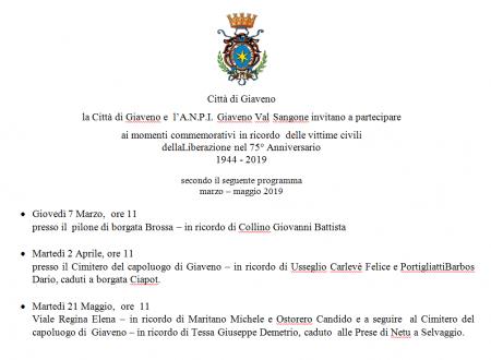 75° anniversario rastrellamento del 1944   Commemorazioni a Giaveno